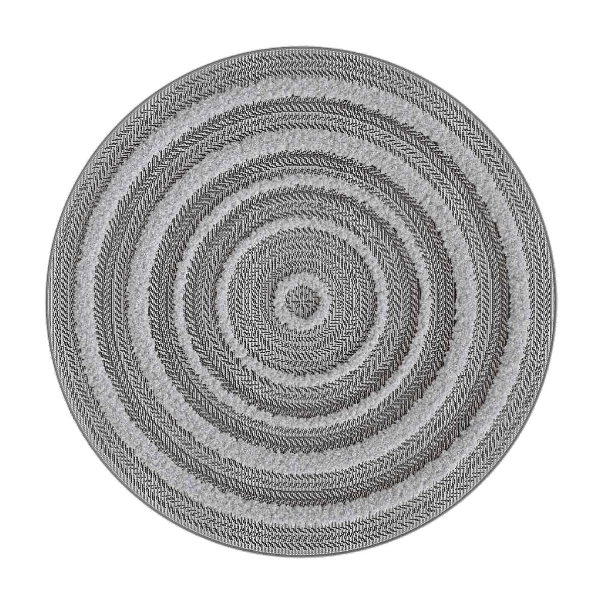 Tapis rond relief gris Dashan 120 cm