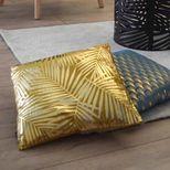 Coussin jaune ocre tropical imprimé doré Ubud 40x40 cm