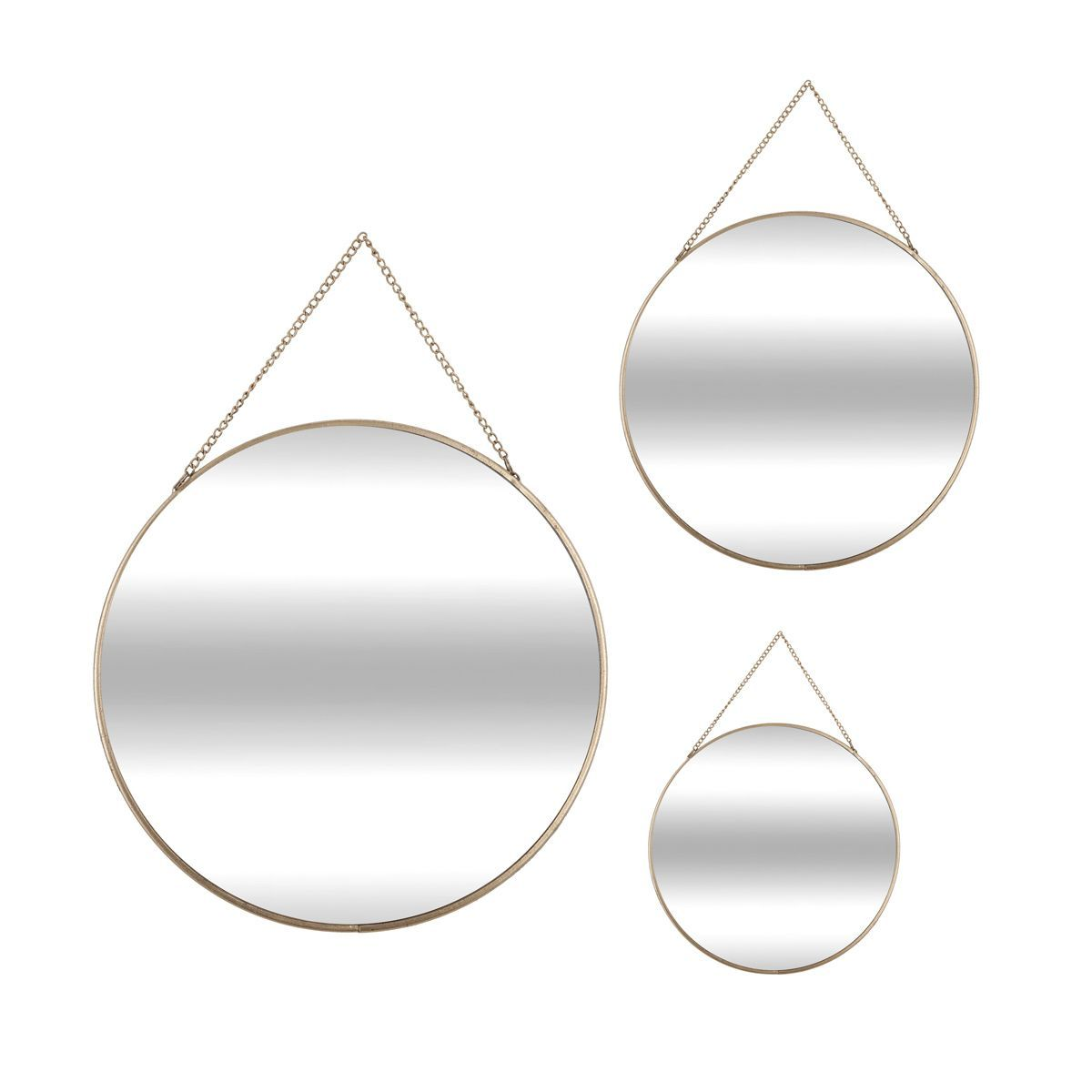 Lot 3 miroirs ronds métal doré