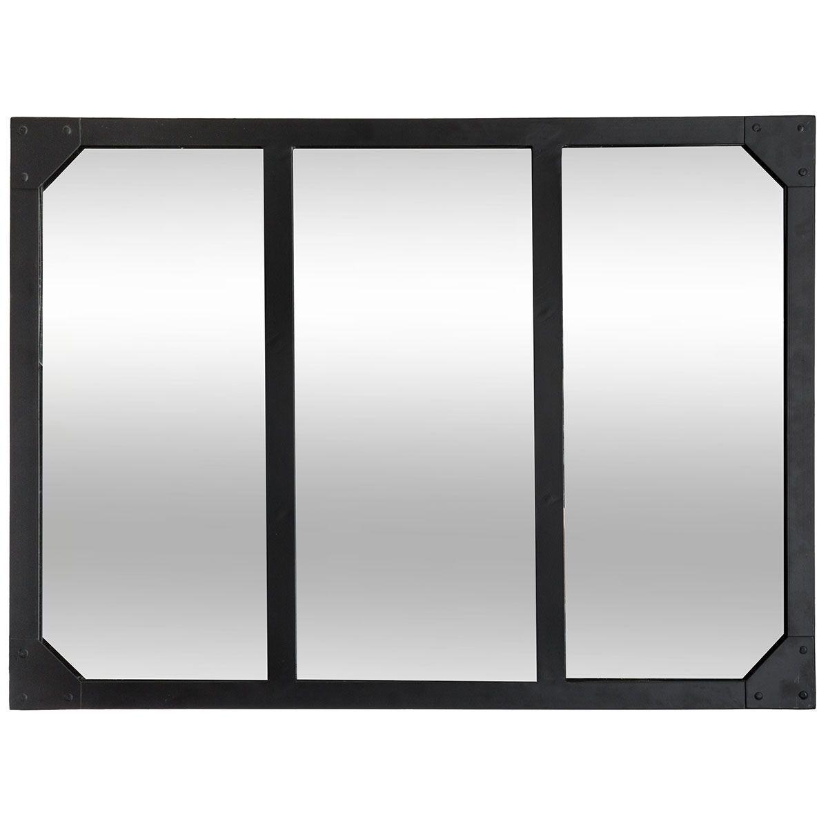 Miroir atelier noir 3 bandes
