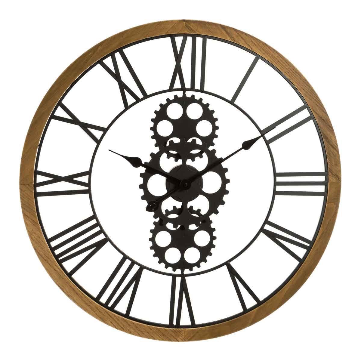 Horloge mécanique en bois et métal