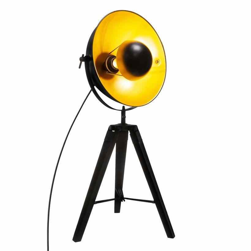 Lampe projecteur cinéma noir et dorée