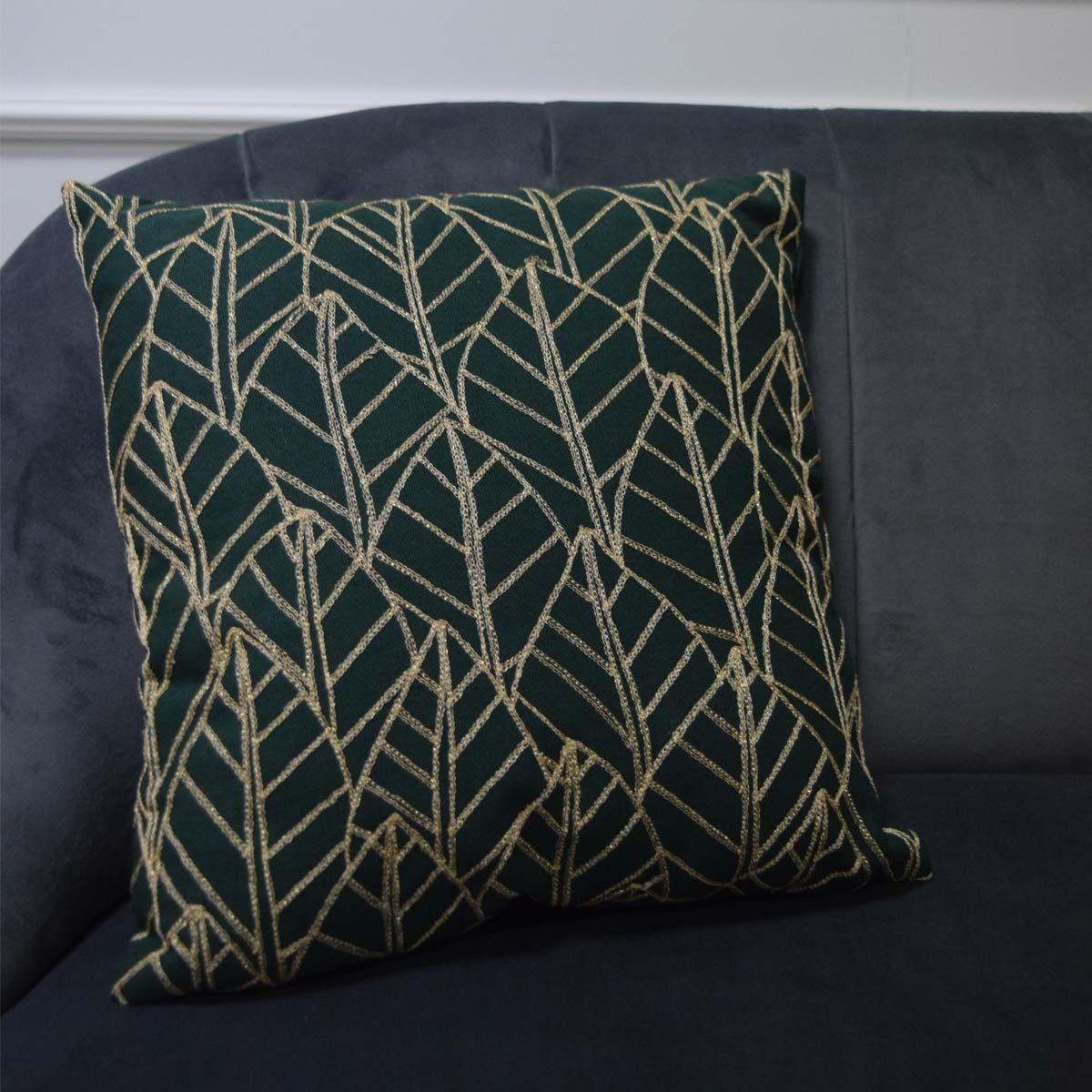Coussin velours vert et doré Bangalore 40x40 cm