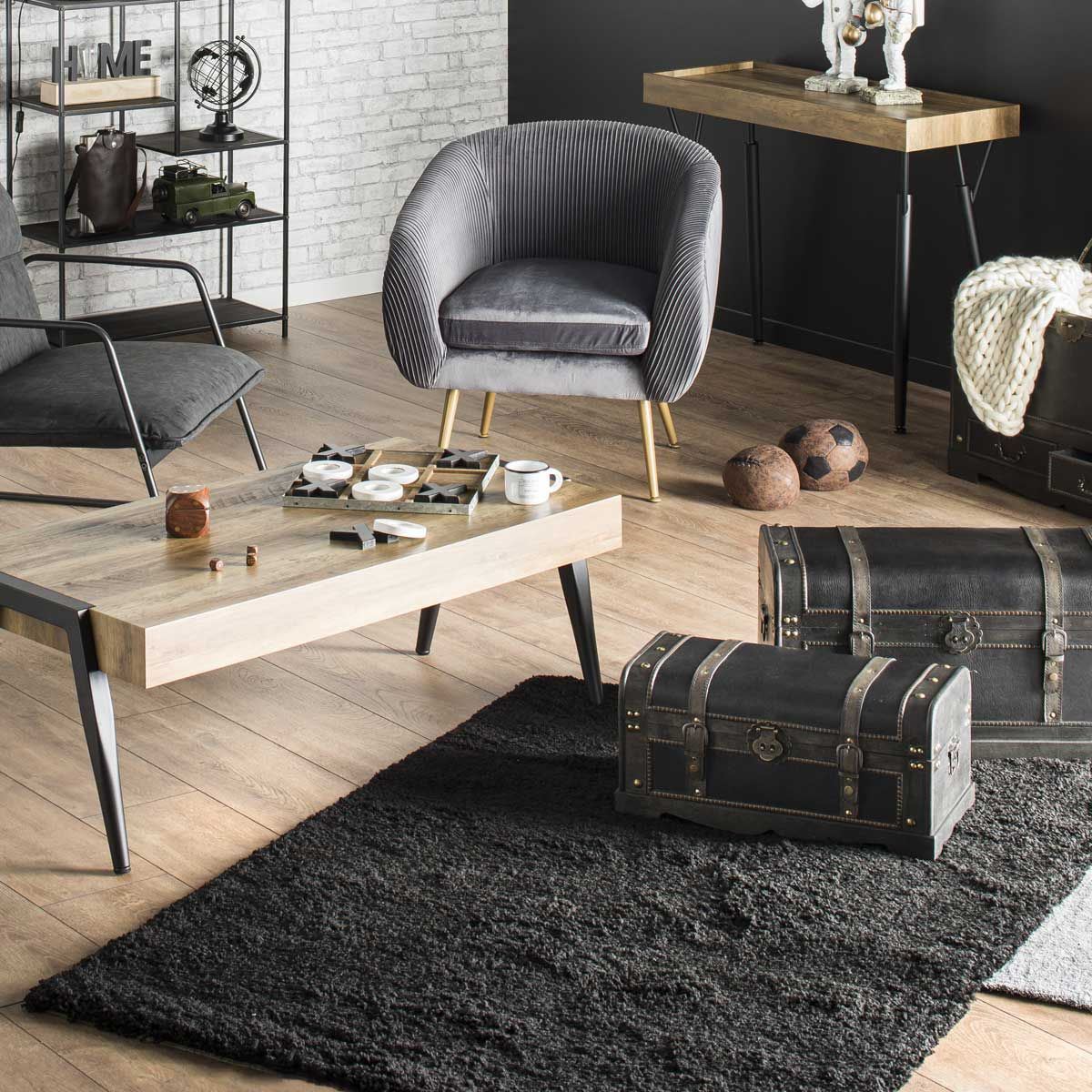 Tapis shaggy noir Softy 200x290 cm