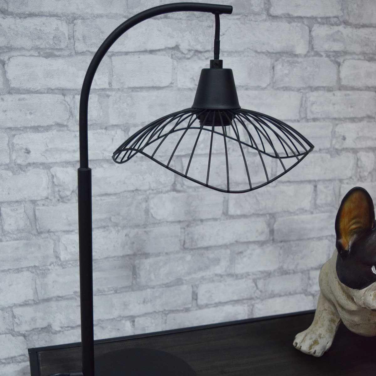 Lampe noire à poser chapeau ondulé