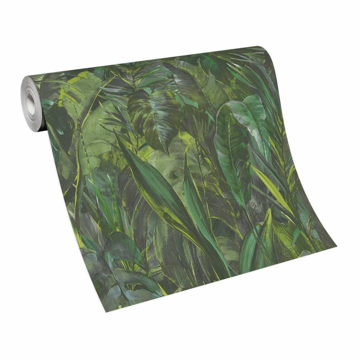 Papier peint vinyl intissé jungle vert citron Tralee