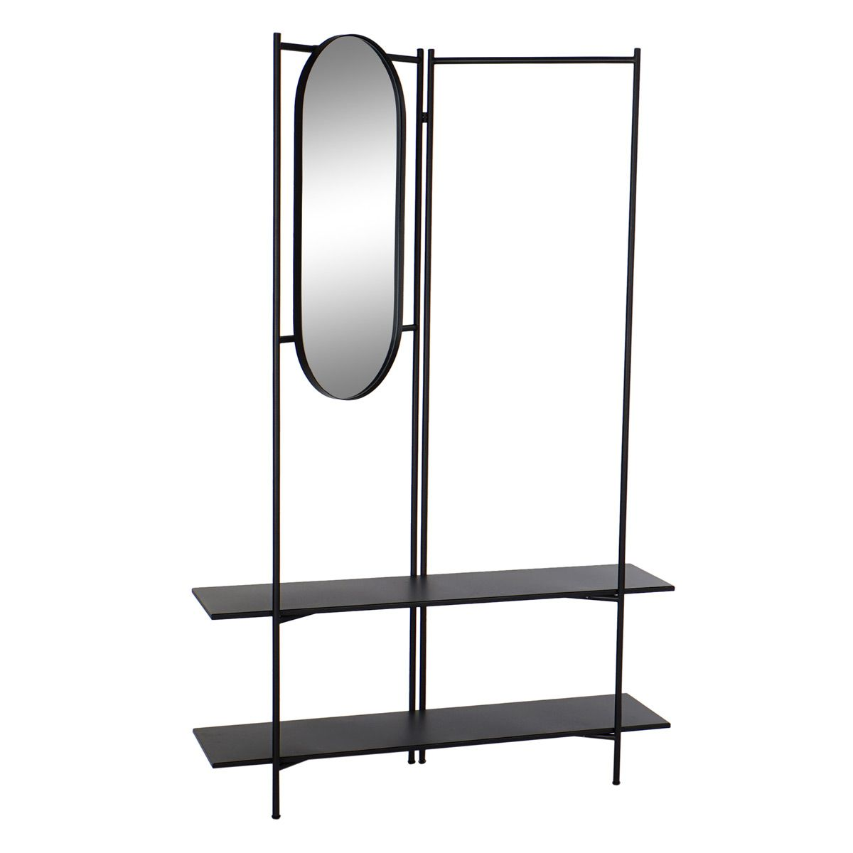 Meuble d'entrée en métal avec miroir
