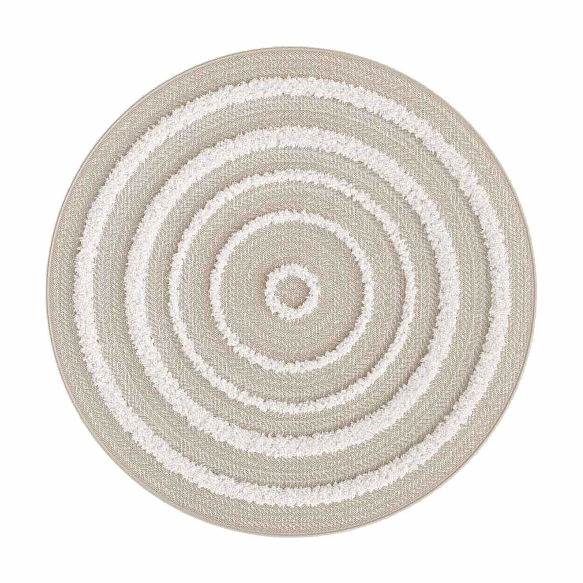 tapis rond relief ecru dashan 120 cm