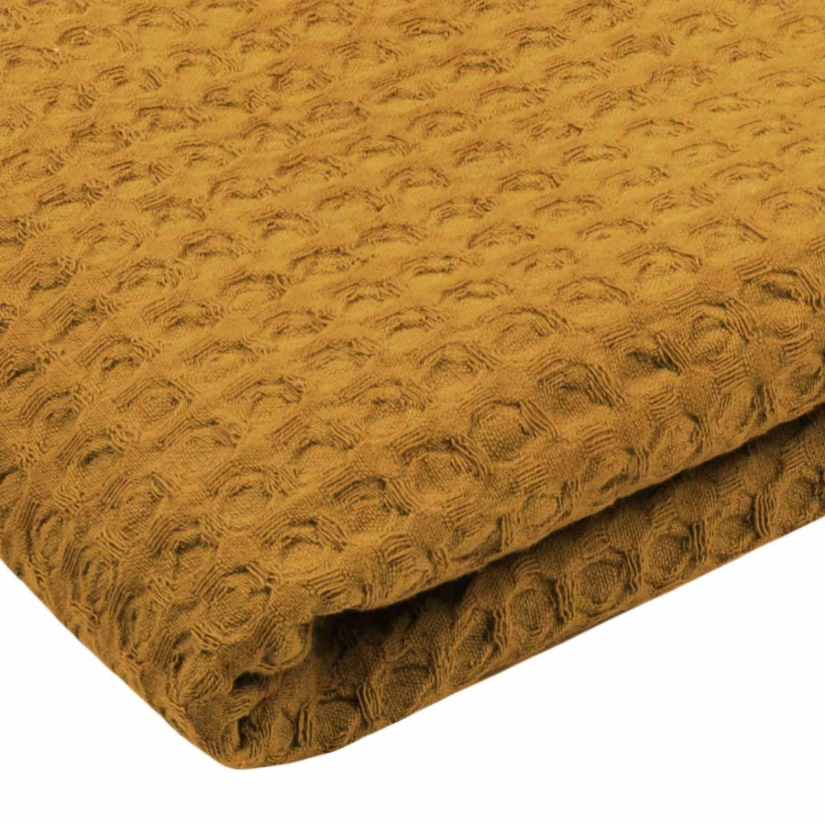 Plaid fouta à pompons jaune Gopher 125x150 cm