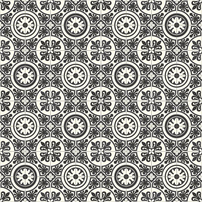 Sol vinyle carreaux ciment blanc noir Bari 400cm