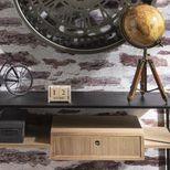 Console en bois de frêne et fer noir