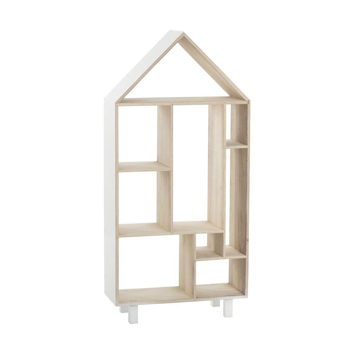 Bibliothèque enfant maison blanche et bois