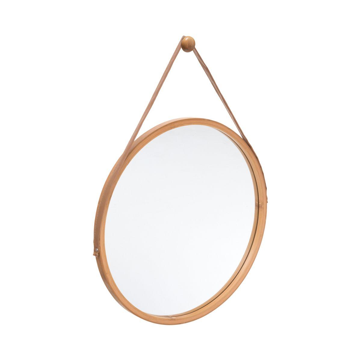 Miroir rond en bambou anse en cuir
