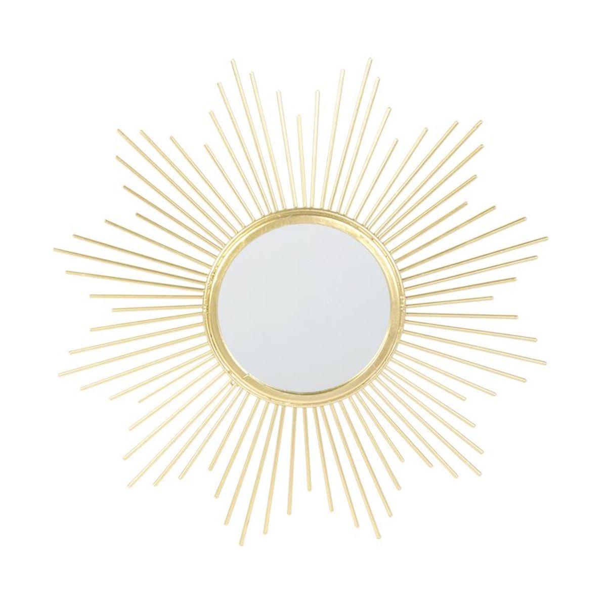 Miroir soleil doré D. 32 cm
