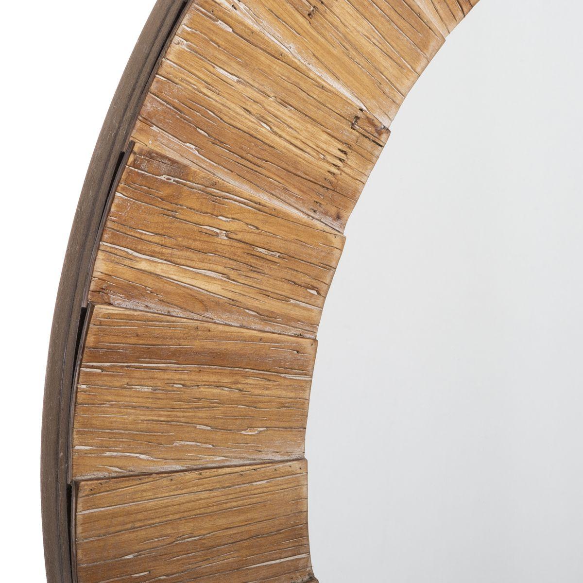 Miroir rond en bois D. 83 cm