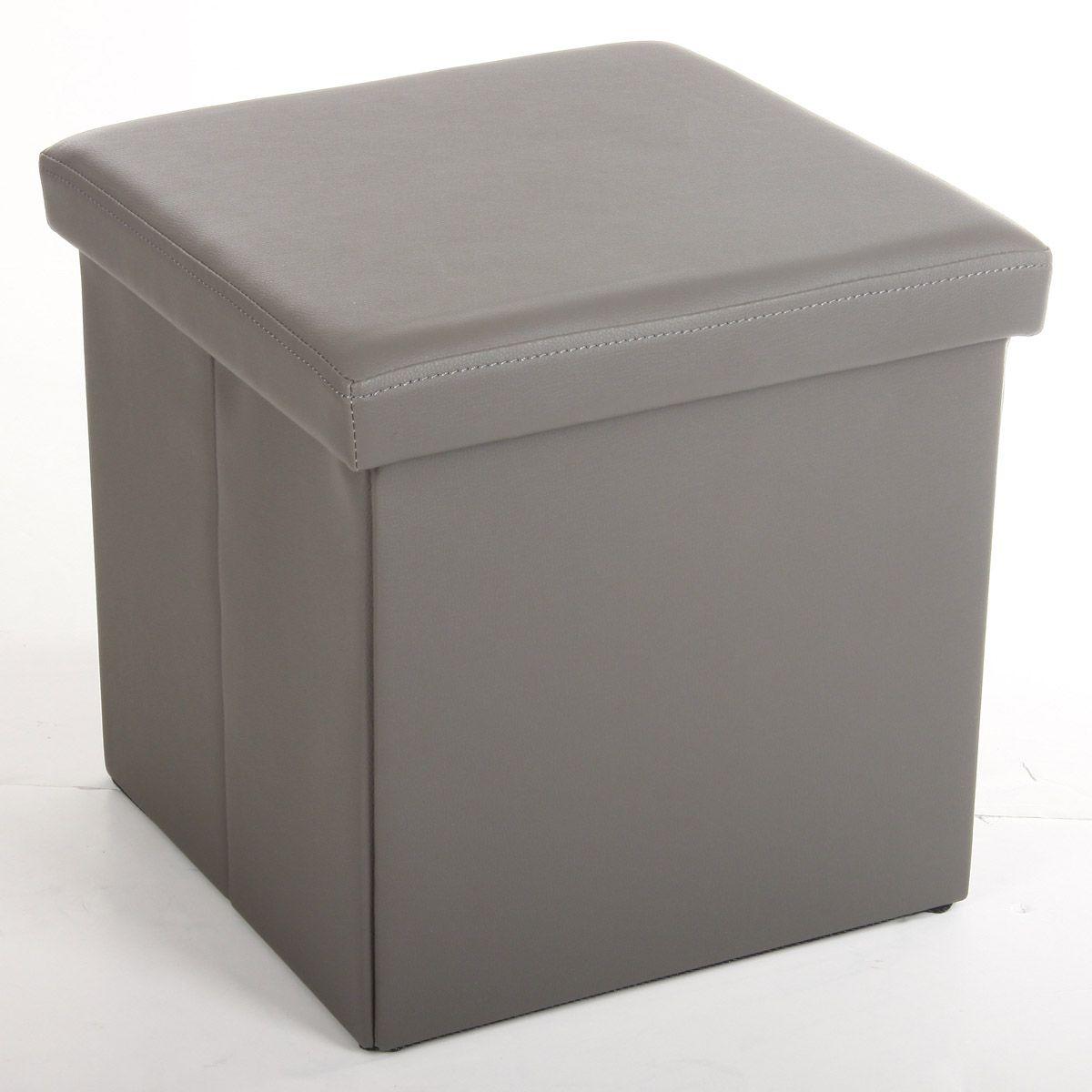 Pouf pliable rangement gris