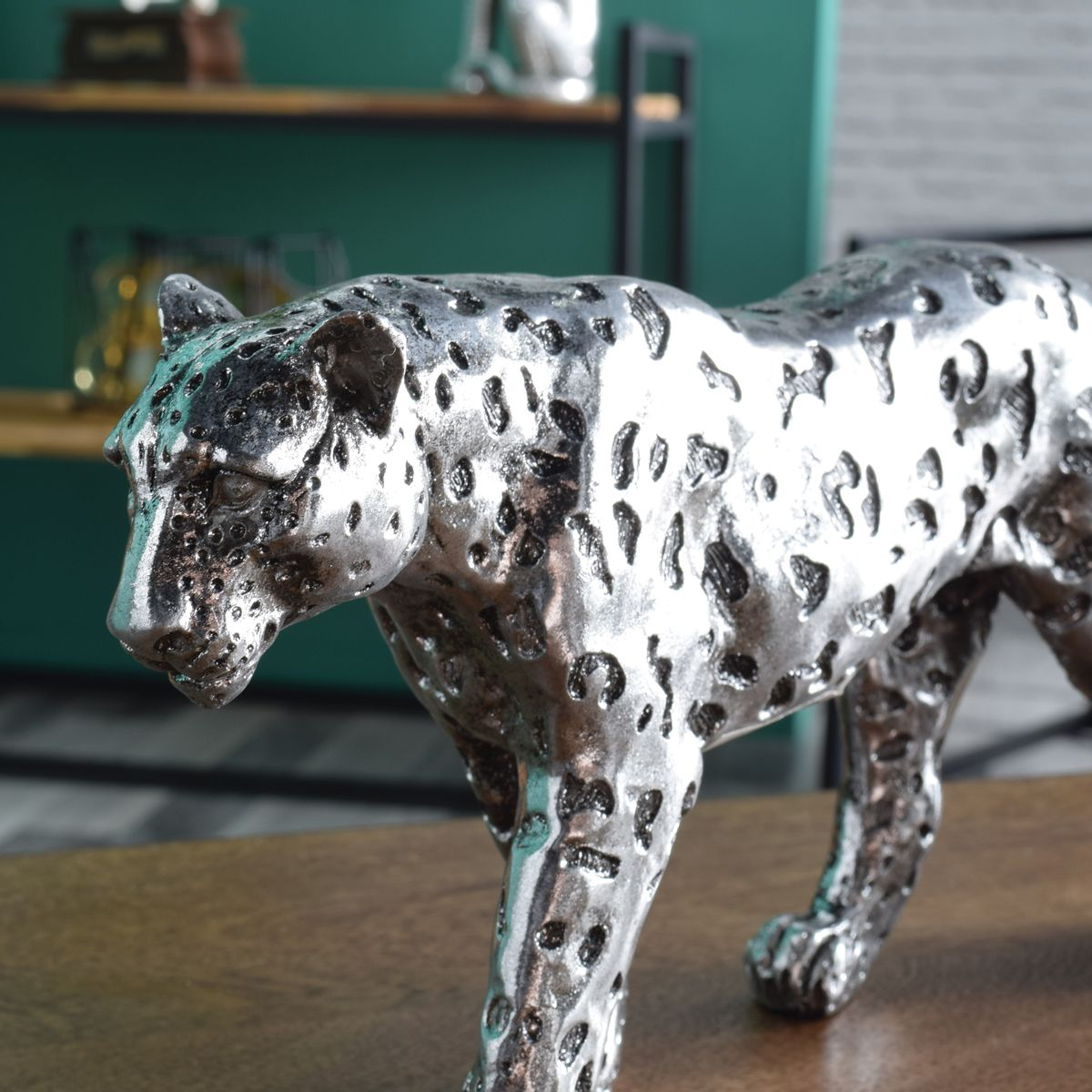 Figurine léopard argenté 28 cm