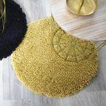 Tapis rond shaggy jaune ocre Softy 60 cm
