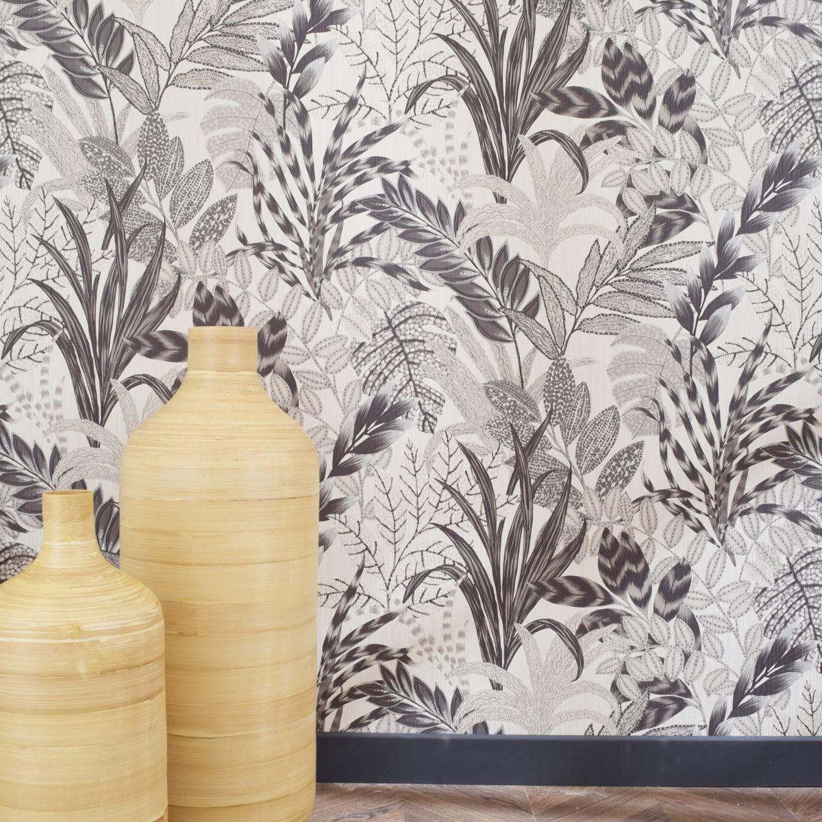 Papier peint vinyl intissé tropical noir et blanc Widnes