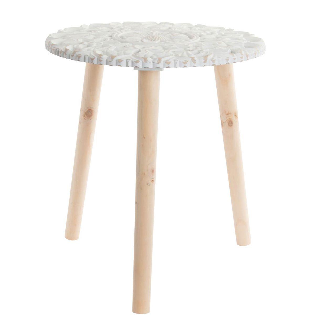 Table auxiliaire bois sculpture blanc