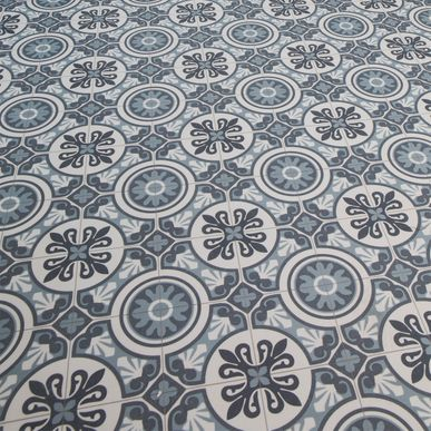 Sol PVC carreaux ciment bleu Pesaro 200cm | KALICO