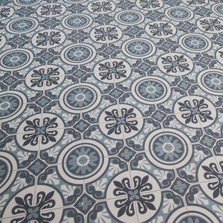 Sol Pvc Carreaux Ciment Bleu Pesaro 200cm Kalico