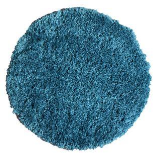 Tapis Rond Shaggy Bleu Canard Softy 60 Cm Kalico