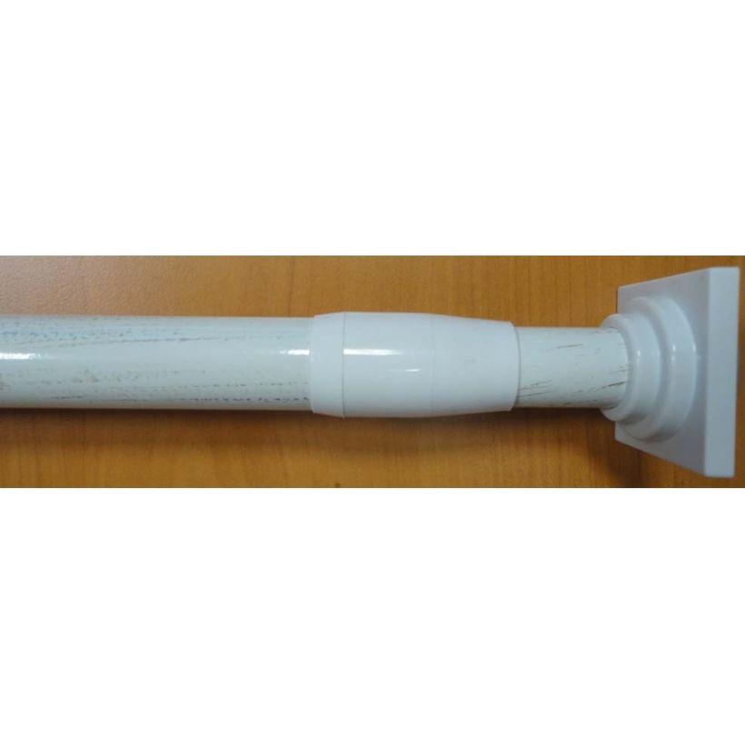 Tringle rideaux ext. sans percer blanc 70/120 cm