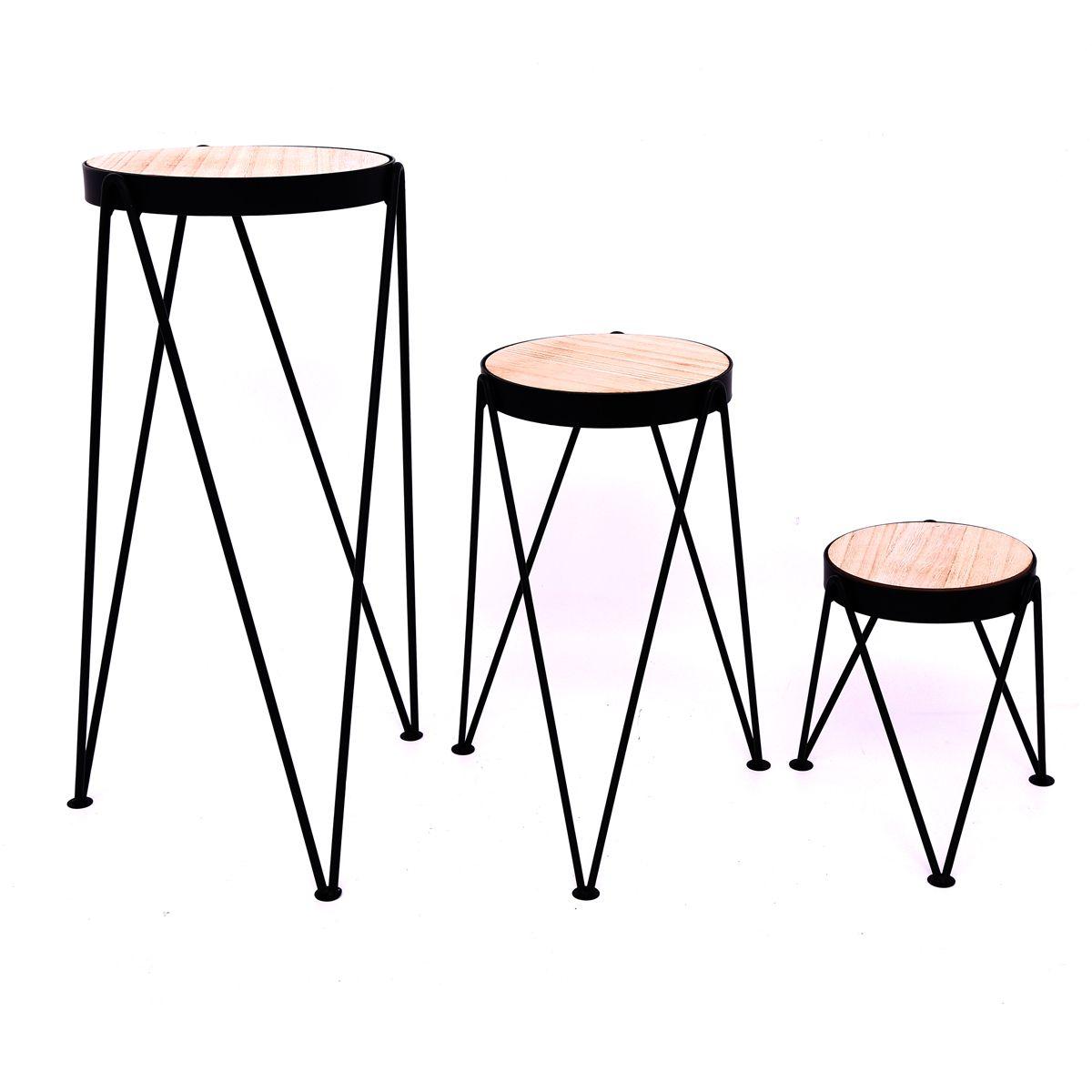 Lot de 3 tables à plantes cable bois
