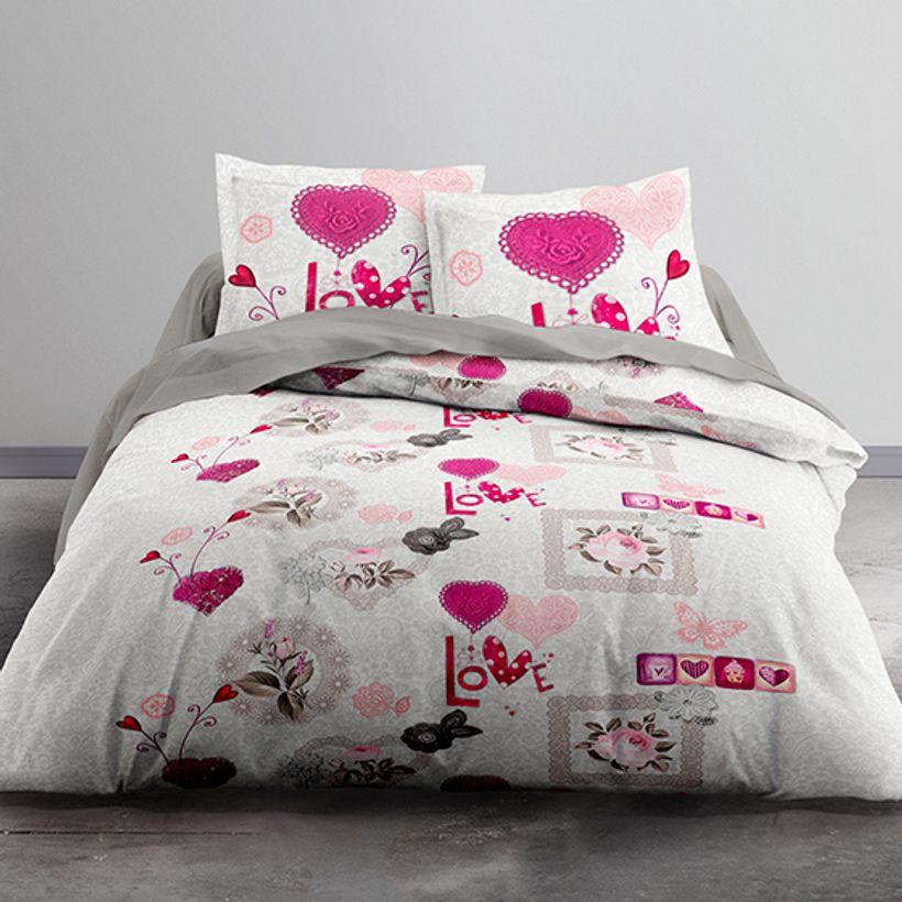 parure de lit flower pivoine housse de couette et taies kalico. Black Bedroom Furniture Sets. Home Design Ideas