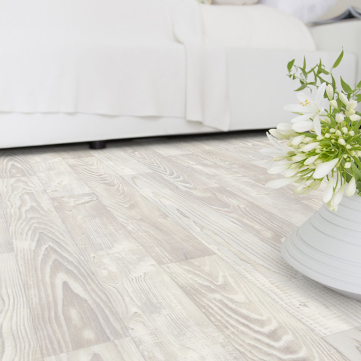 Sol vinyle effet pin blanc Lecco 400cm