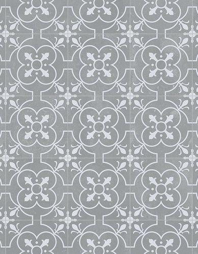 Sol vinyle carreaux ciment gris blanc Baciano 400cm | KALICO