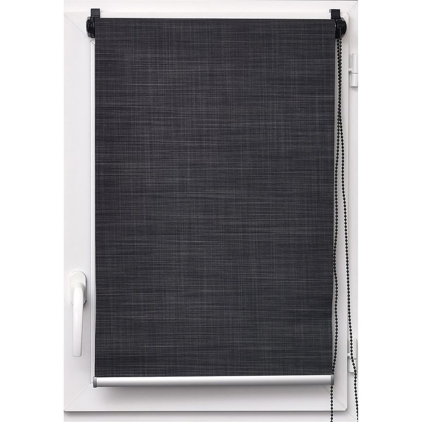 Store tamisant effet lin anthracite Tao 45x180cm