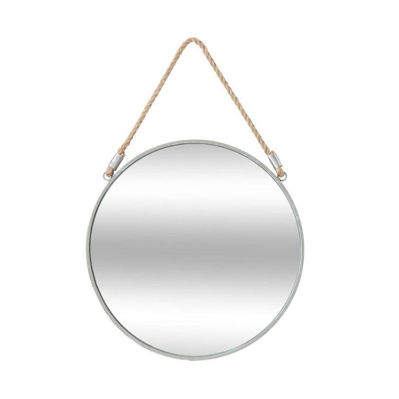 Miroir rond métal gris sur corde