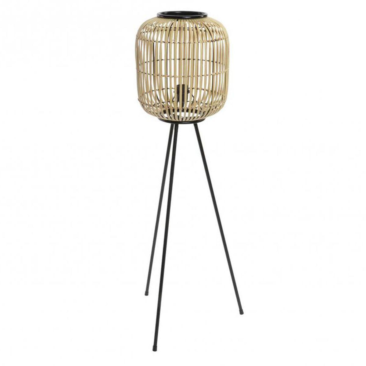 Lampadaire metal bois bambou