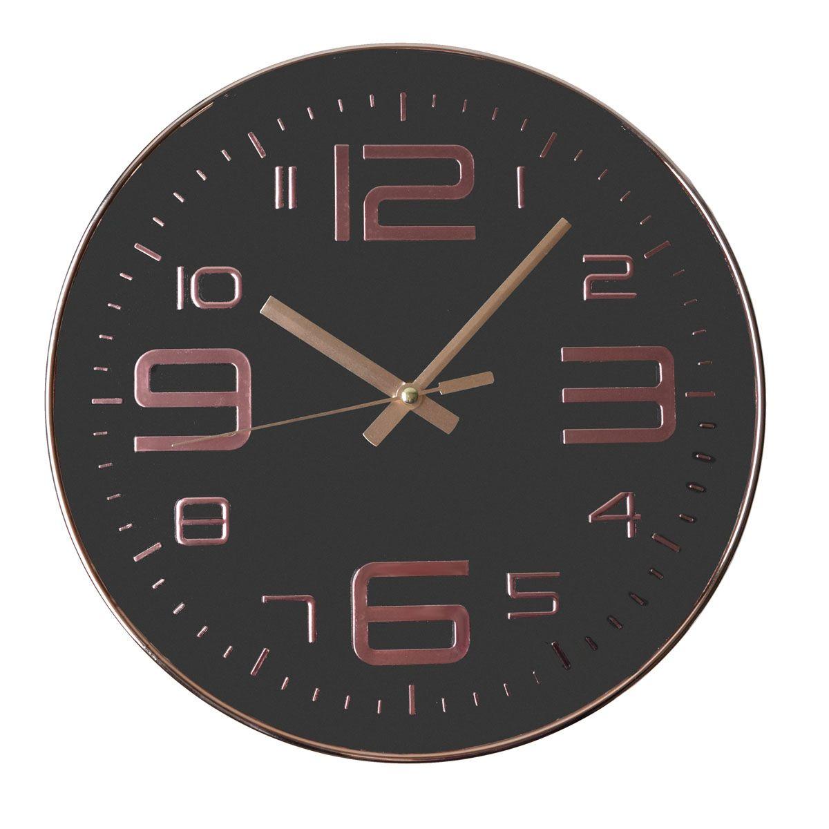 Pendule ronde cuivre noir blanc 30cm